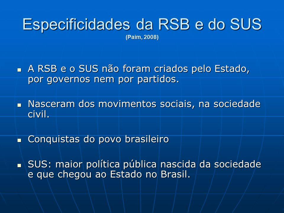 Especificidades da RSB e do SUS (Paim, 2008) A RSB e o SUS não foram criados pelo Estado, por governos nem por partidos.