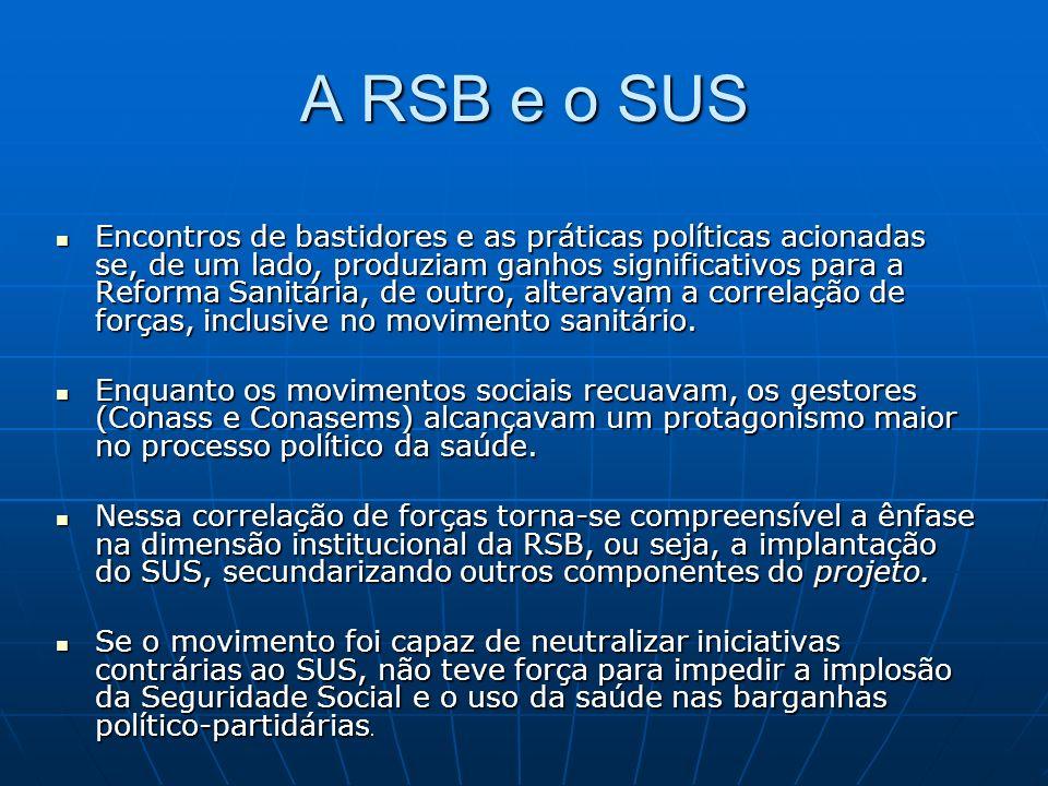 A RSB e o SUS Encontros de bastidores e as práticas políticas acionadas se, de um lado, produziam ganhos significativos para a Reforma Sanitária, de outro, alteravam a correlação de forças, inclusive no movimento sanitário.
