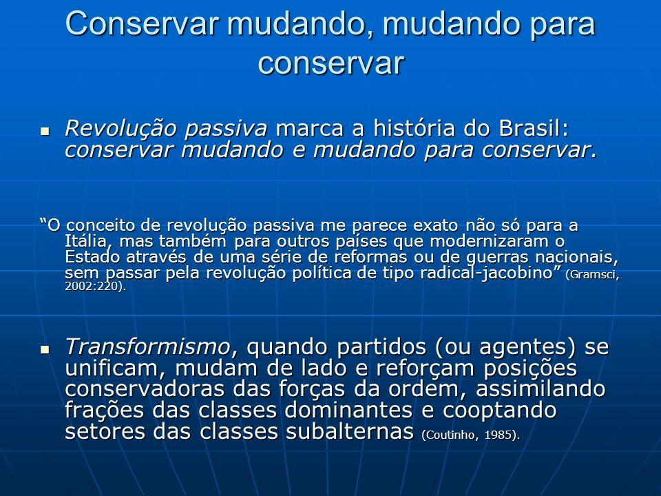 Conservar mudando, mudando para conservar Revolução passiva marca a história do Brasil: conservar mudando e mudando para conservar.