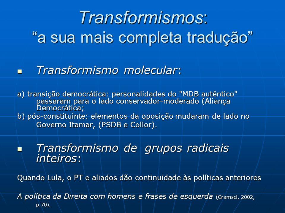 Transformismos: a sua mais completa tradução Transformismo molecular: Transformismo molecular: a) transição democrática: personalidades do MDB autêntico passaram para o lado conservador-moderado (Aliança Democrática; b) pós-constituinte: elementos da oposição mudaram de lado no Governo Itamar, (PSDB e Collor).