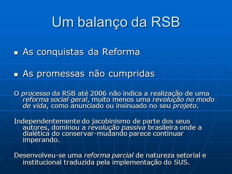 Um balanço da RSB As conquistas da Reforma As conquistas da Reforma As promessas não cumpridas As promessas não cumpridas O processo da RSB até 2006 não indica a realização de uma reforma social geral, muito menos uma revolução no modo de vida, como anunciado ou insinuado no seu projeto.