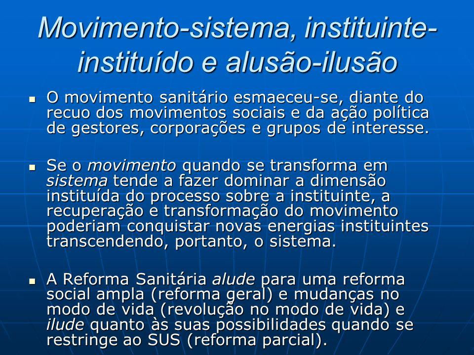 Movimento-sistema, instituinte- instituído e alusão-ilusão O movimento sanitário esmaeceu-se, diante do recuo dos movimentos sociais e da ação política de gestores, corporações e grupos de interesse.
