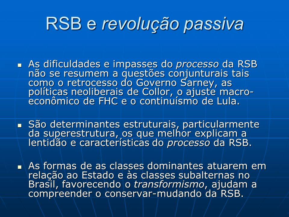 RSB e revolução passiva As dificuldades e impasses do processo da RSB não se resumem a questões conjunturais tais como o retrocesso do Governo Sarney, as políticas neoliberais de Collor, o ajuste macro- econômico de FHC e o continuísmo de Lula.