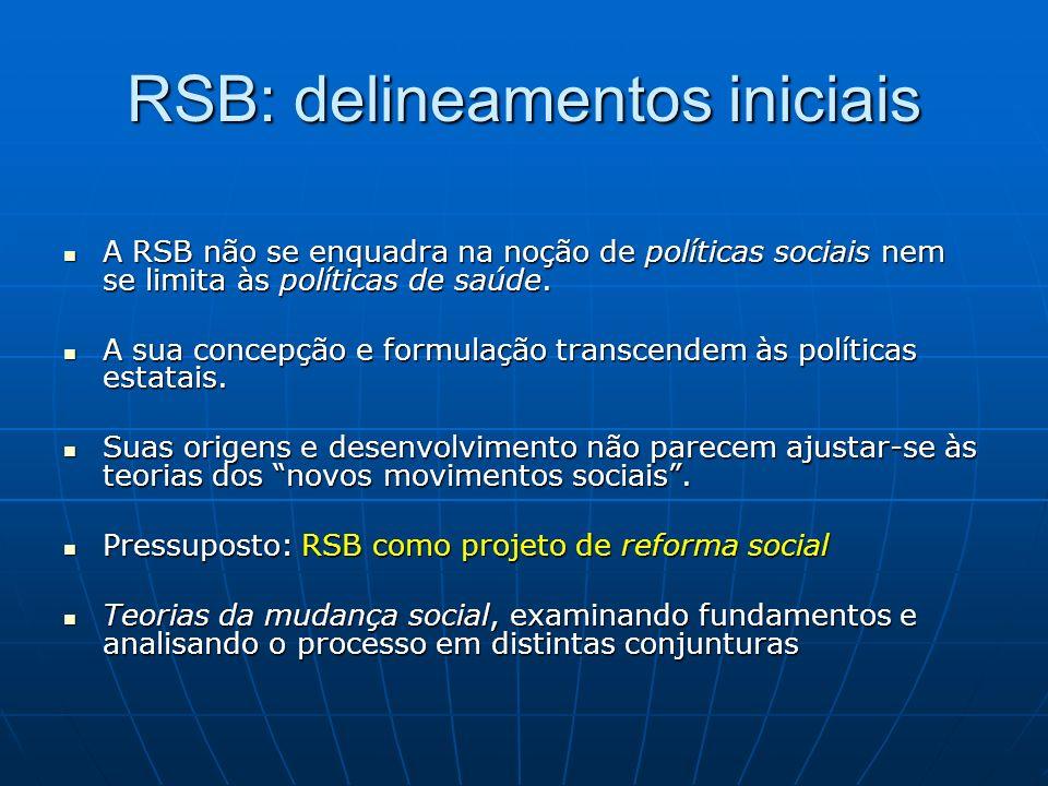 RSB: delineamentos iniciais A RSB não se enquadra na noção de políticas sociais nem se limita às políticas de saúde.