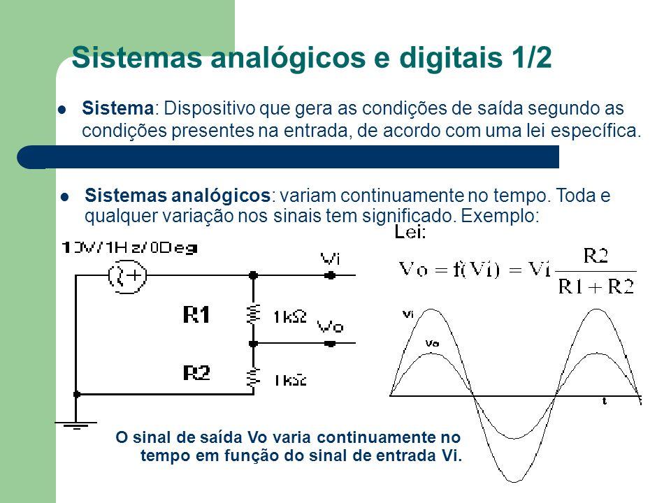 Sistemas analógicos e digitais 2/2 Sistemas digitais: os sinais apenas podem assumir uma gama de valores discretos (x1,x2...xn).