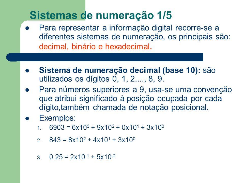 Sistemas de numeração 1/5 Para representar a informação digital recorre-se a diferentes sistemas de numeração, os principais são: decimal, binário e h