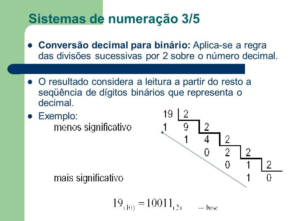Sistemas de numeração 3/5 Conversão decimal para binário: Aplica-se a regra das divisões sucessivas por 2 sobre o número decimal. O resultado consider
