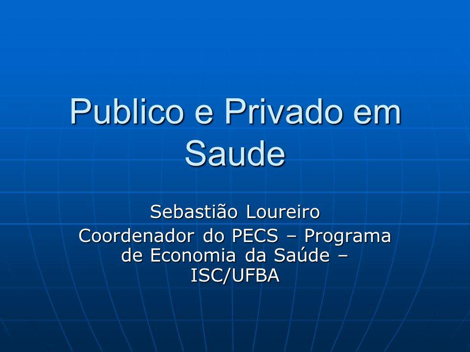 Publico e Privado em Saude Sebastião Loureiro Coordenador do PECS – Programa de Economia da Saúde – ISC/UFBA