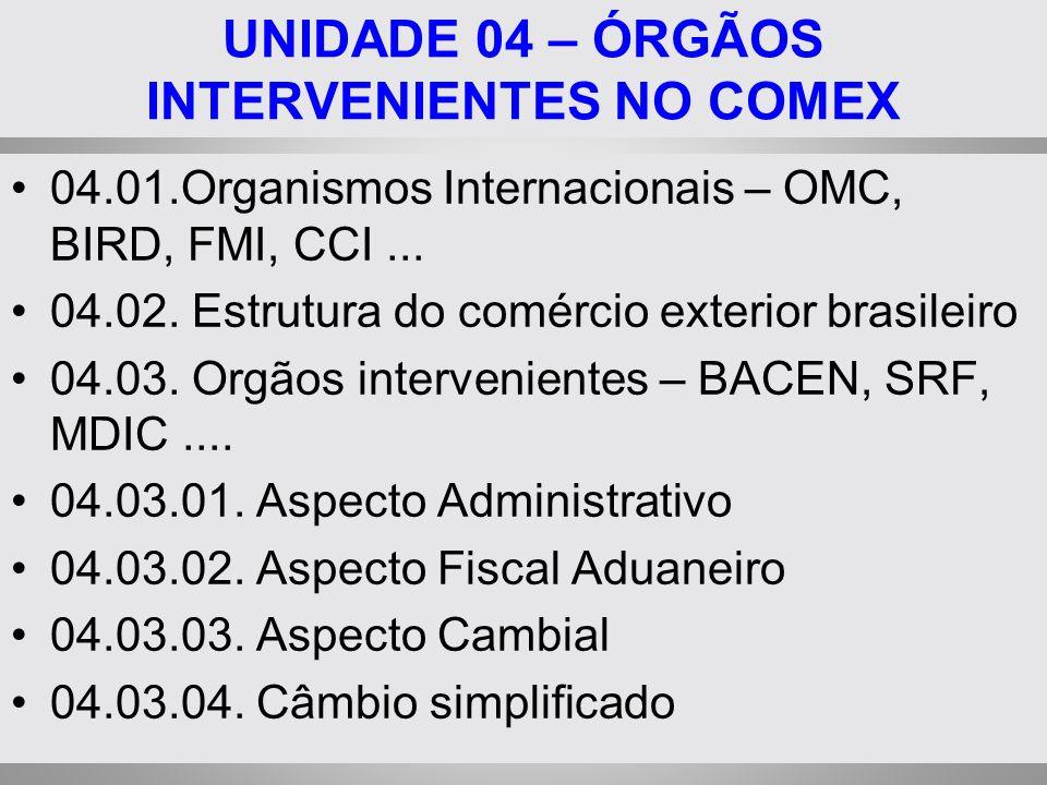 UNIDADE 04 – ÓRGÃOS INTERVENIENTES NO COMEX 04.01.Organismos Internacionais – OMC, BIRD, FMI, CCI... 04.02. Estrutura do comércio exterior brasileiro