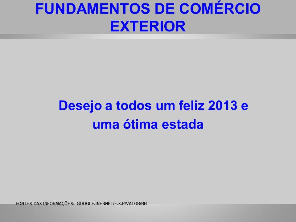 FUNDAMENTOS DE COMÉRCIO EXTERIOR Desejo a todos um feliz 2013 e uma ótima estada FONTES DAS INFORMAÇÕES: GOOGLE/INERNET/F.S.P/VALOR/BB