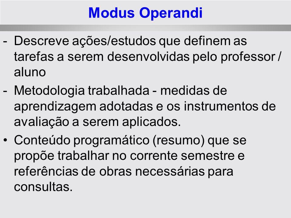 Modus Operandi -Descreve ações/estudos que definem as tarefas a serem desenvolvidas pelo professor / aluno -Metodologia trabalhada - medidas de aprend