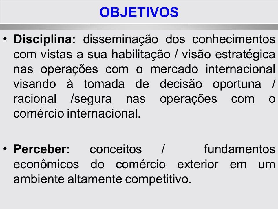 OBJETIVOS Professor: auxiliar o discente a apropriar-se dos conteúdos da disciplina e desenvolver a visão internacionalista.