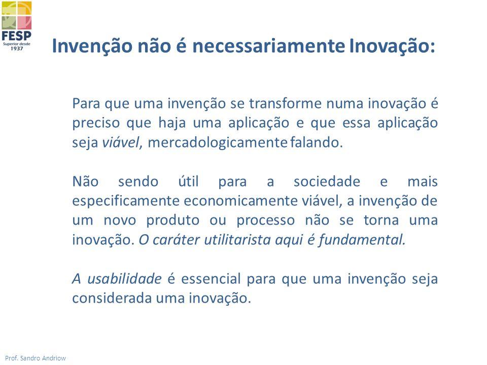 Invenção não é necessariamente Inovação: Prof. Sandro Andriow Para que uma invenção se transforme numa inovação é preciso que haja uma aplicação e que