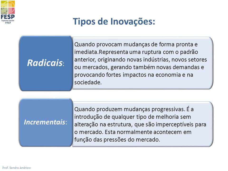 Tipos de Inovações: Prof. Sandro Andriow Quando provocam mudanças de forma pronta e imediata.Representa uma ruptura com o padrão anterior, originando