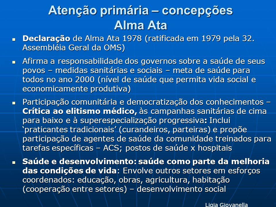 Atenção primária – concepções Alma Ata Declaração de Alma Ata 1978 (ratificada em 1979 pela 32. Assembléia Geral da OMS) Declaração de Alma Ata 1978 (