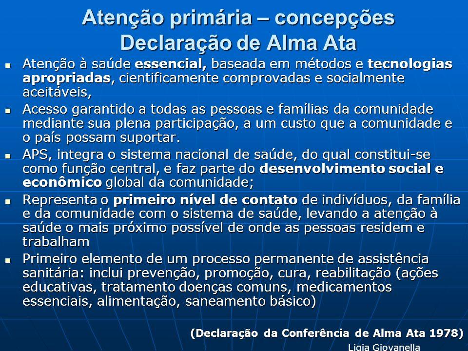 Atenção primária – concepções Declaração de Alma Ata Atenção à saúde essencial, baseada em métodos e tecnologias apropriadas, cientificamente comprova