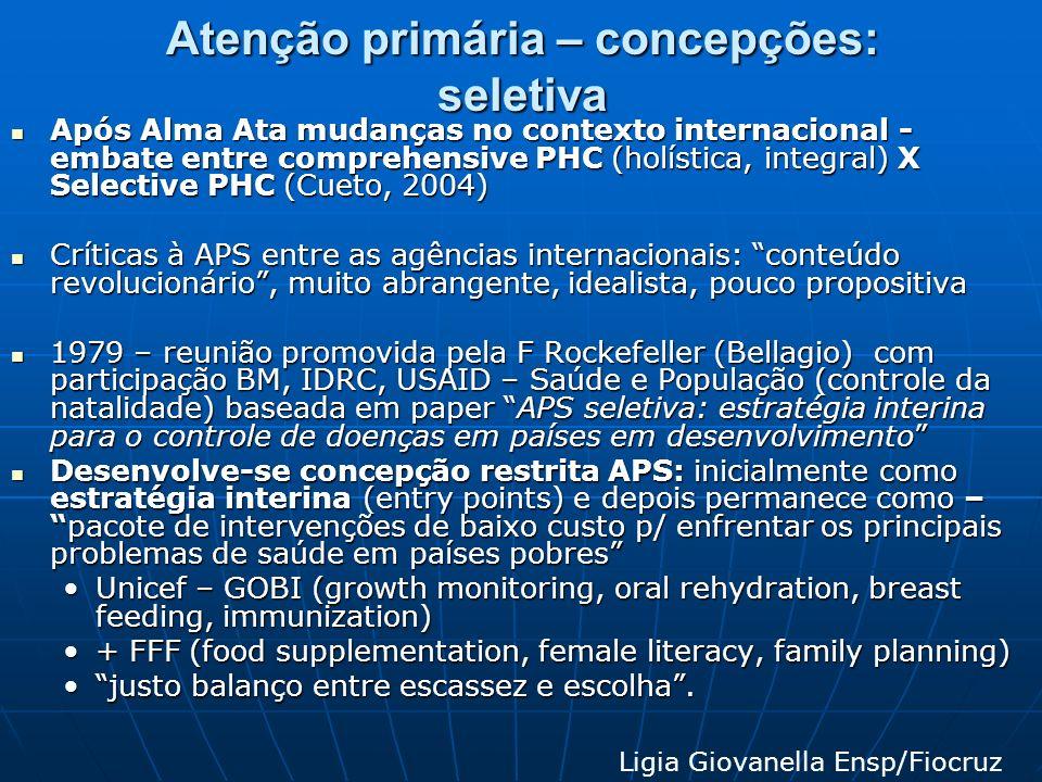 Atenção primária – concepções: seletiva Após Alma Ata mudanças no contexto internacional - embate entre comprehensive PHC (holística, integral) X Sele