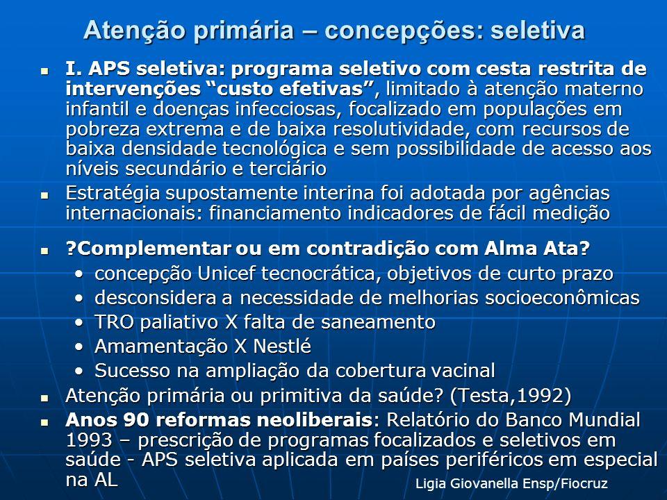Atenção primária – concepções: seletiva I. APS seletiva: programa seletivo com cesta restrita de intervenções custo efetivas, limitado à atenção mater