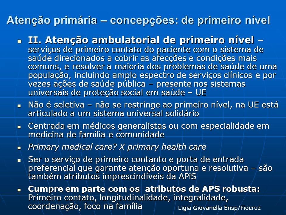 Atenção primária – concepções: de primeiro nível II. Atenção ambulatorial de primeiro nível – serviços de primeiro contato do paciente com o sistema d