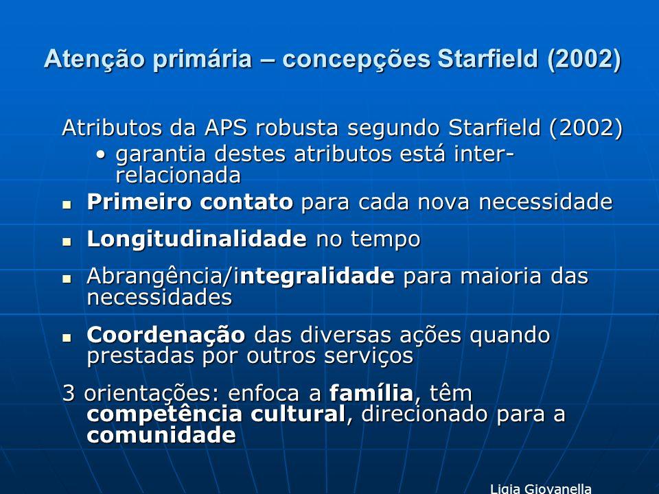 Atenção primária – concepções Starfield (2002) Atributos da APS robusta segundo Starfield (2002) garantia destes atributos está inter- relacionadagara