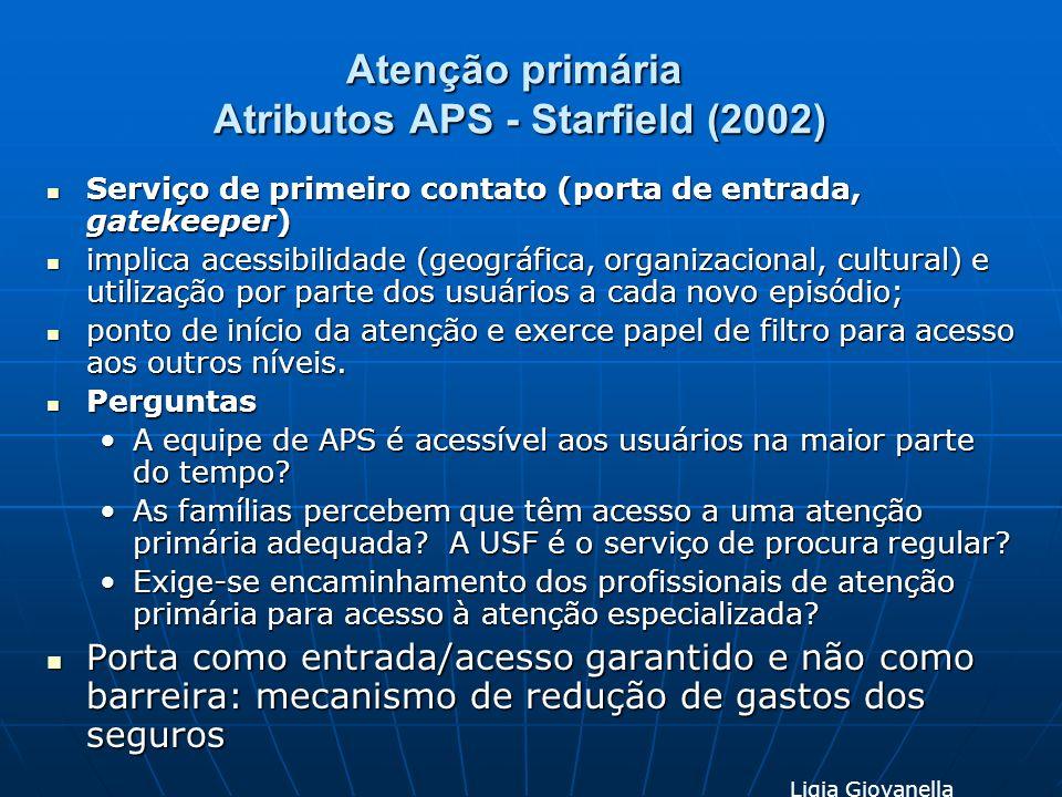 Atenção primária Atributos APS - Starfield (2002) Serviço de primeiro contato (porta de entrada, gatekeeper) Serviço de primeiro contato (porta de ent