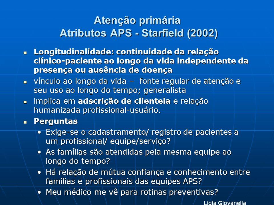 Atenção primária Atributos APS - Starfield (2002) Longitudinalidade: continuidade da relação clínico-paciente ao longo da vida independente da presenç