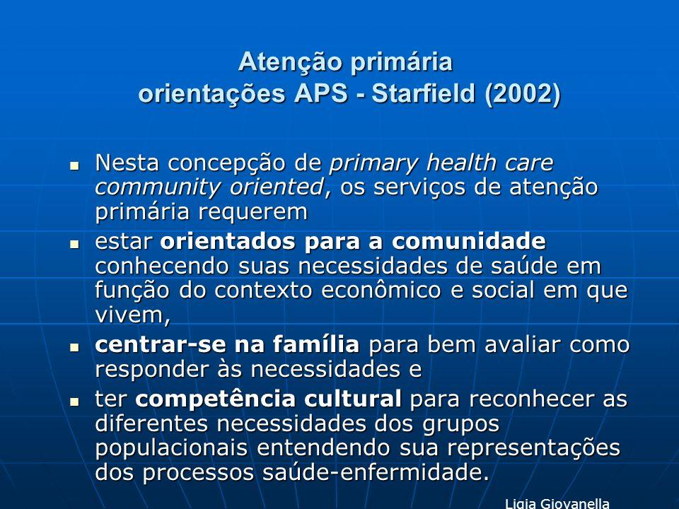 Atenção primária orientações APS - Starfield (2002) Nesta concepção de primary health care community oriented, os serviços de atenção primária requere