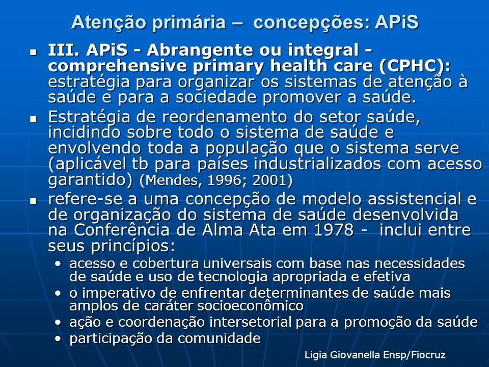 Atenção primária – concepções: APiS III. APiS - Abrangente ou integral - comprehensive primary health care (CPHC): estratégia para organizar os sistem