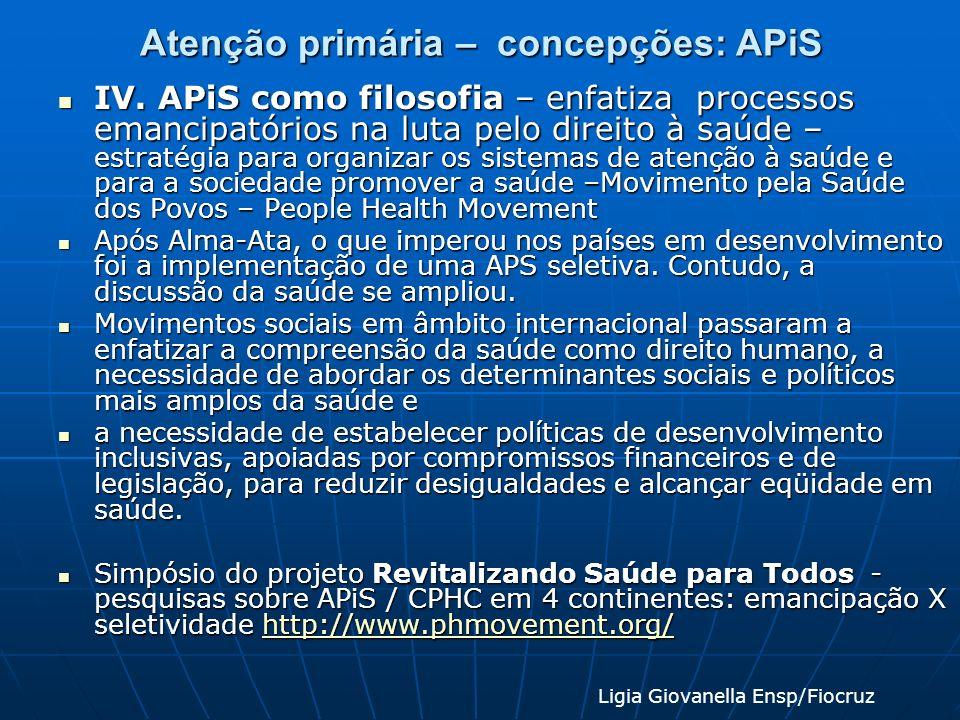 Atenção primária – concepções: APiS IV. APiS como filosofia – enfatiza processos emancipatórios na luta pelo direito à saúde – estratégia para organiz