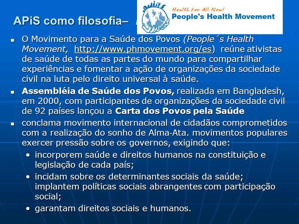 APiS como filosofia– People´s Health Movement O Movimento para a Saúde dos Povos (People´s Health Movement, http://www.phmovement.org/es) reúne ativis