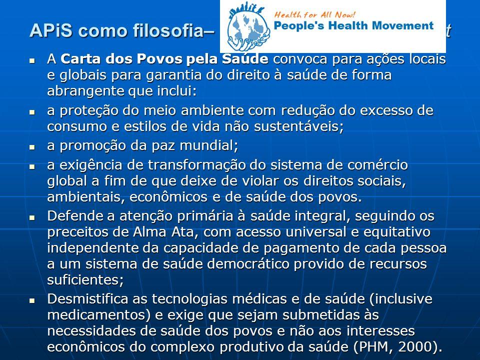 APiS como filosofia– People´s Health Movement A Carta dos Povos pela Saúde convoca para ações locais e globais para garantia do direito à saúde de for
