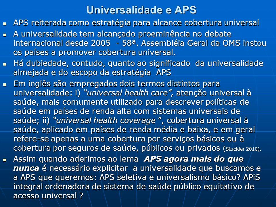 Universalidade e APS APS reiterada como estratégia para alcance cobertura universal APS reiterada como estratégia para alcance cobertura universal A u