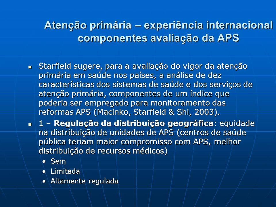 Atenção primária – experiência internacional componentes avaliação da APS Starfield sugere, para a avaliação do vigor da atenção primária em saúde nos