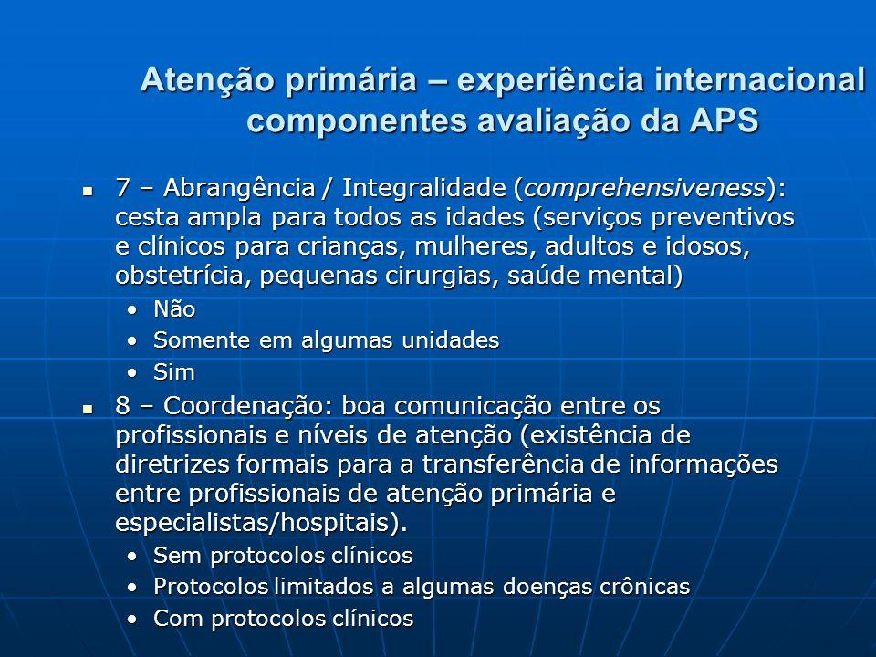 Atenção primária – experiência internacional componentes avaliação da APS 7 – Abrangência / Integralidade (comprehensiveness): cesta ampla para todos