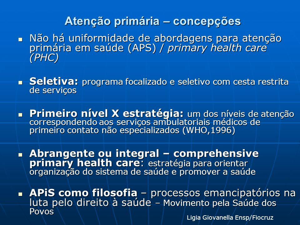 Atenção primária – concepções Não há uniformidade de abordagens para atenção primária em saúde (APS) / primary health care (PHC) Não há uniformidade d