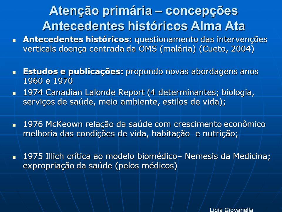 Atenção primária – concepções Antecedentes históricos Alma Ata Antecedentes históricos: questionamento das intervenções verticais doença centrada da O