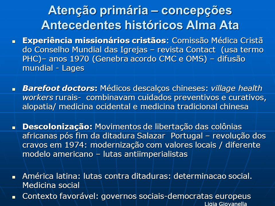 Atenção primária – concepções Antecedentes históricos Alma Ata Experiência missionários cristãos: Comissão Médica Cristã do Conselho Mundial das Igrej