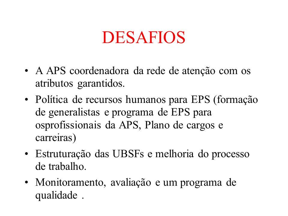 DESAFIOS A APS coordenadora da rede de atenção com os atributos garantidos.