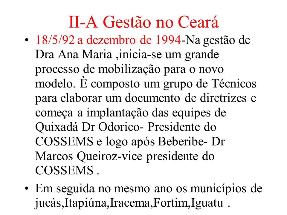 II-A Gestão no Ceará 18/5/92 a dezembro de 1994-Na gestão de Dra Ana Maria,inicia-se um grande processo de mobilização para o novo modelo.