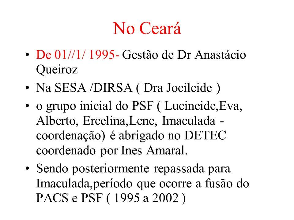 No Ceará De 01//1/ 1995- Gestão de Dr Anastácio Queiroz Na SESA /DIRSA ( Dra Jocileide ) o grupo inicial do PSF ( Lucineide,Eva, Alberto, Ercelina,Lene, Imaculada - coordenação) é abrigado no DETEC coordenado por Ines Amaral.