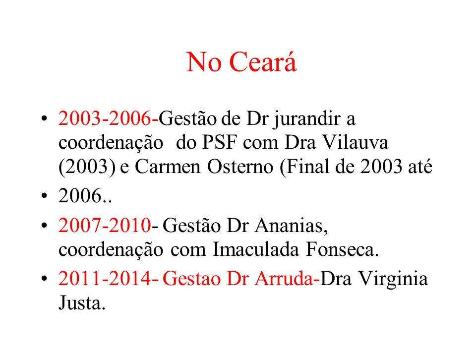 No Ceará 2003-2006-Gestão de Dr jurandir a coordenação do PSF com Dra Vilauva (2003) e Carmen Osterno (Final de 2003 até 2006..