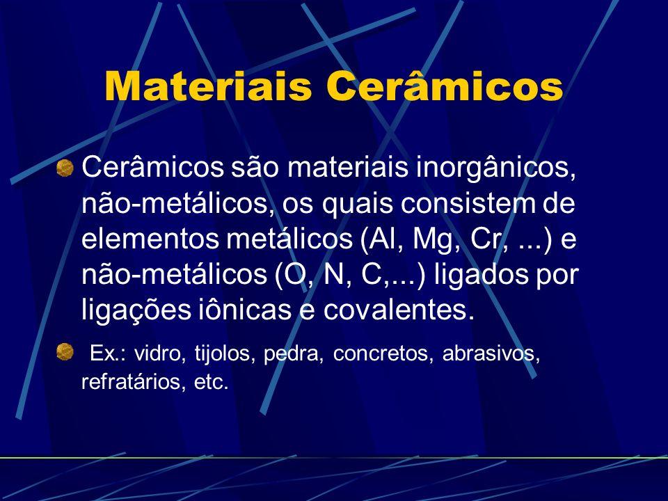 Cerâmicos são materiais inorgânicos, não-metálicos, os quais consistem de elementos metálicos (Al, Mg, Cr,...) e não-metálicos (O, N, C,...) ligados p