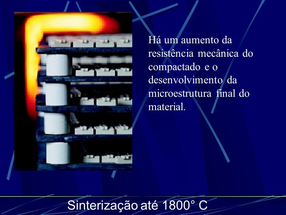Sinterização até 1800° C Há um aumento da resistência mecânica do compactado e o desenvolvimento da microestrutura final do material.