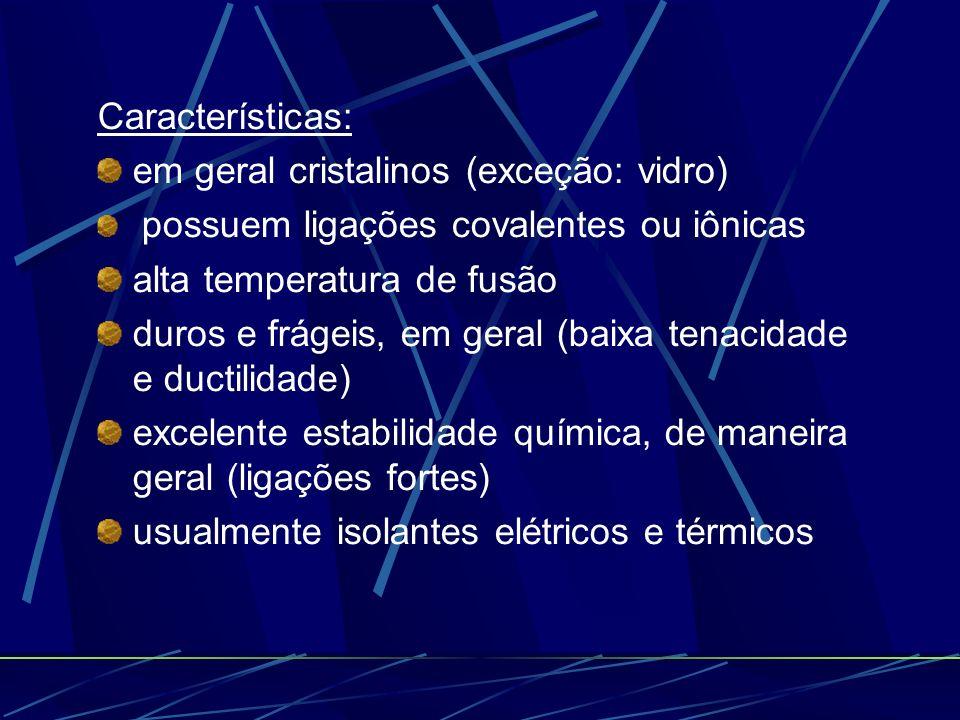 Características: em geral cristalinos (exceção: vidro) possuem ligações covalentes ou iônicas alta temperatura de fusão duros e frágeis, em geral (bai