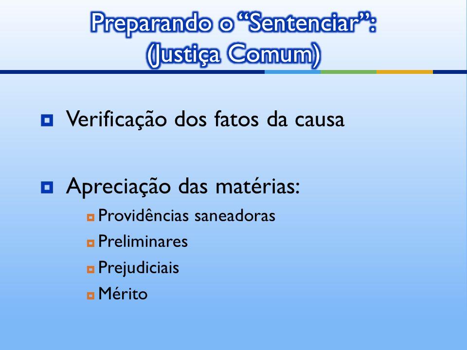 Verificação dos fatos da causa Apreciação das matérias: Providências saneadoras Preliminares Prejudiciais Mérito