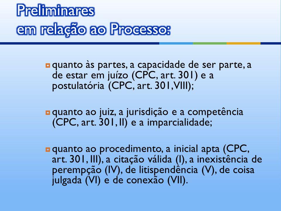 quanto às partes, a capacidade de ser parte, a de estar em juízo (CPC, art.