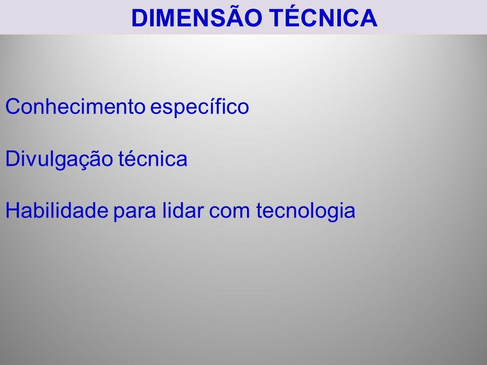 DIMENSÃO TÉCNICA Conhecimento específico Divulgação técnica Habilidade para lidar com tecnologia