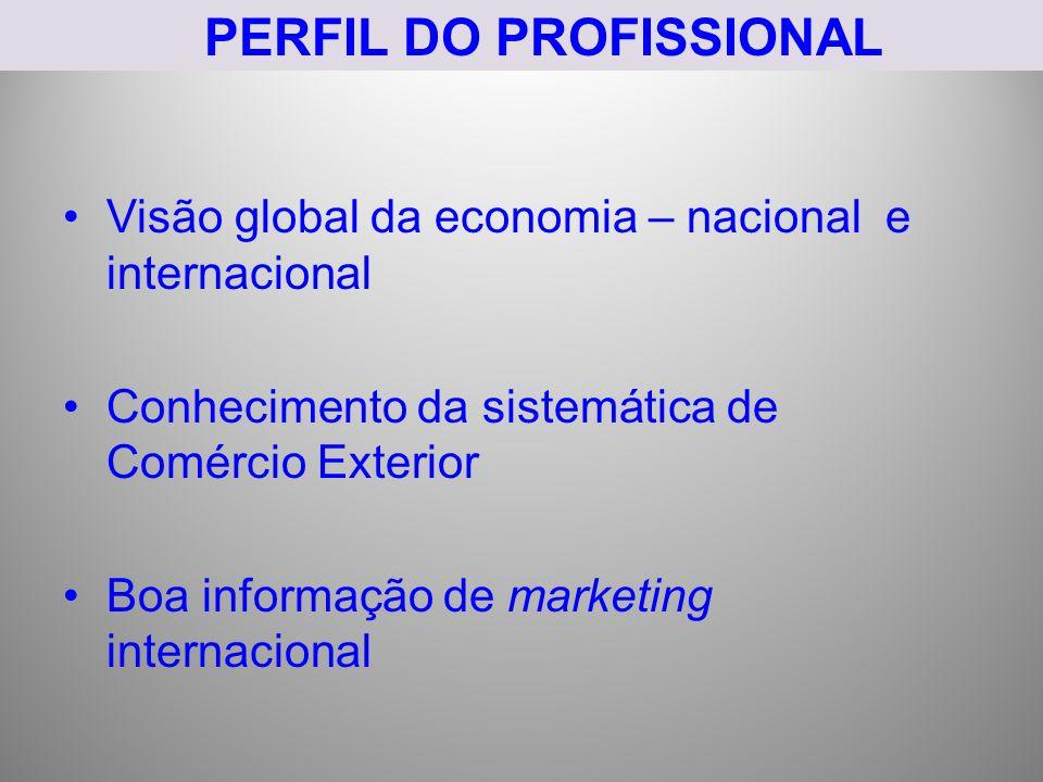 PERFIL DO PROFISSIONAL Visão global da economia – nacional e internacional Conhecimento da sistemática de Comércio Exterior Boa informação de marketin