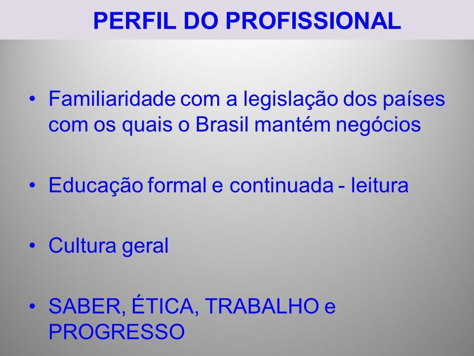 PERFIL DO PROFISSIONAL Familiaridade com a legislação dos países com os quais o Brasil mantém negócios Educação formal e continuada - leitura Cultura
