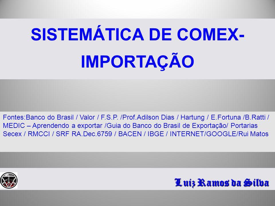 SISTEMÁTICA DE COMEX- IMPORTAÇÃO Luiz Ramos da Silva Fontes:Banco do Brasil / Valor / F.S.P. /Prof.Adilson Dias / Hartung / E.Fortuna /B.Ratti / MEDIC